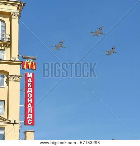 Russian army military jets during military parade for the Victory Day