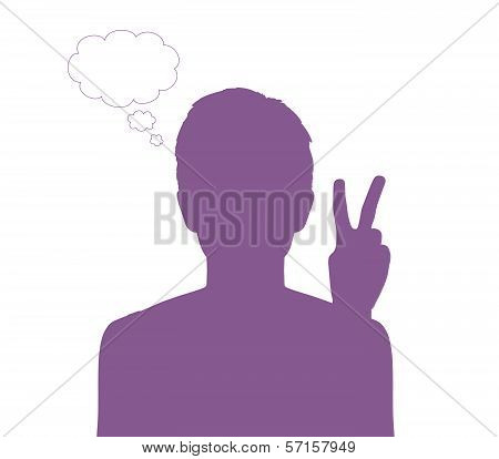 Woman With A Victory Sign