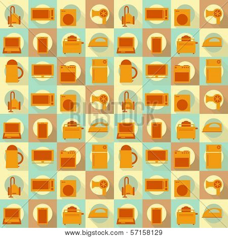 Flat Home Appliances Seamless Background