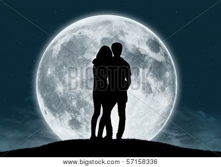 Young Couple In Love At The Full Moon, Elements of this image furnished by NASA