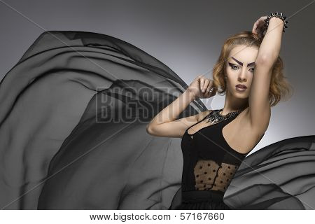 Creative Fashion Portrait Of Gothic Lady