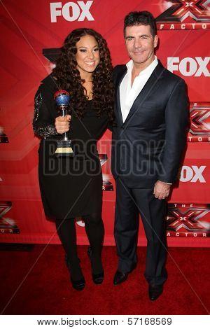 Melanie Amaro and Simon Cowel at The X Factor Season Finale, CBS Television City, Los Angeles, CA 12-22-11