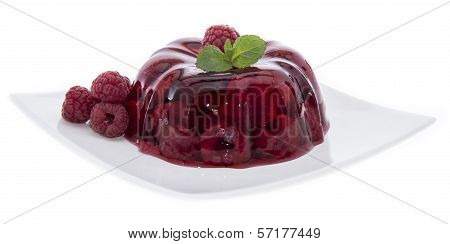 Raspberry Jello On White