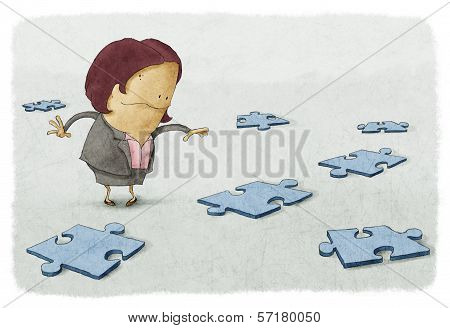 Business woman puzzles