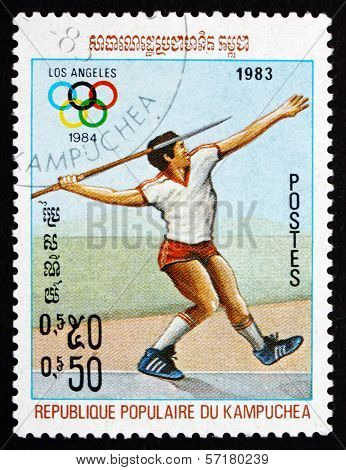 Postage Stamp Cambodia 1983 Javelin, 1984 Summer Olympics, Los A