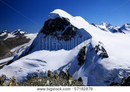 Breithorn Peak In Swiss Alps Seen From Klein Matterhorn