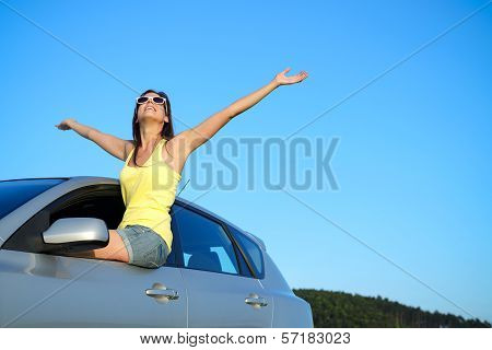 Happy Car Driver On Roadtrip
