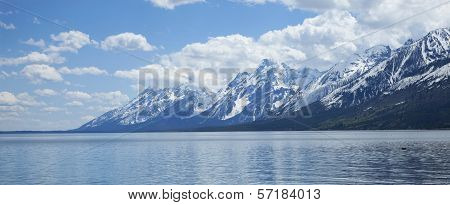 Grand Teton Mountain Range Viewed Above Lewis Lake