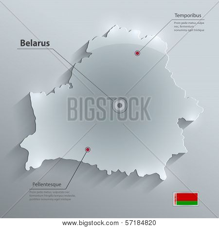 Belarus map flag glass card paper 3D vector