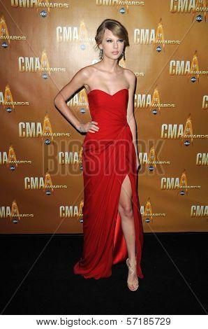 Taylor Swift  at the 44th Annual CMA Awards, Bridgestone Arena, Nashville, TN.  11-10-10