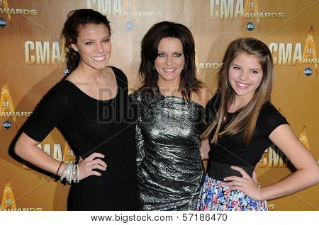 Martina McBride and Daughters at the 44th Annual CMA Awards, Bridgestone Arena, Nashville, TN.  11-10-10