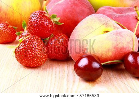 Strawberries, Platt Peach, Cherries, Lemon And Mango