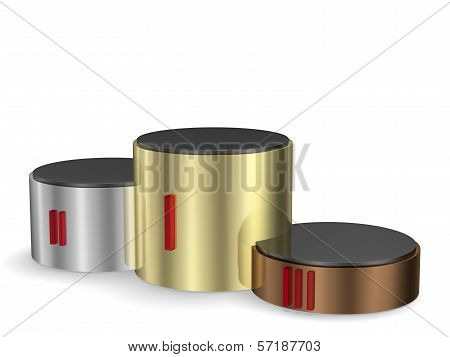 Cylindrical Pedestal Of Gold, Silver And Bronze
