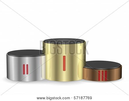 Cylindrical Pedestal Of Gold, Silver And Bronze. Front View