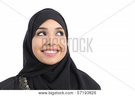 Beautiful Arab Woman Face Looking An Advertising Above