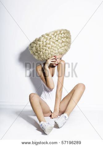 Glam. Exceptional Hair-do. Artistic Woman With Plaited White Art Wig