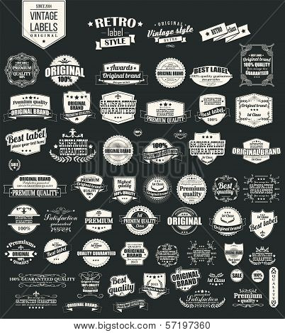 Collection of vintage retro labels, badges, typography, vector