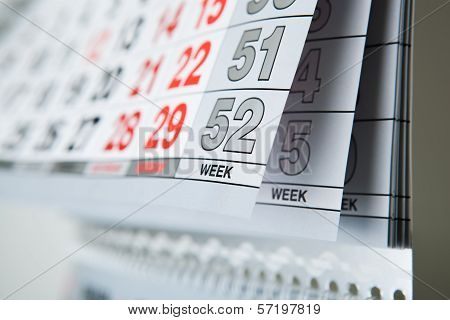 Wall Calendar Calendar With The Number Of Days