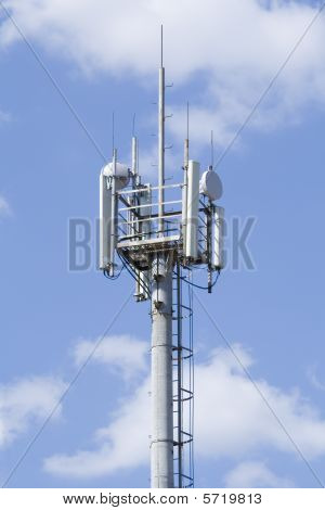 High gsm Transmitter Tower Against Blue Sky