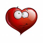 picture of embarrassing  - Cartoon Illustration of a Heart Face Emoticon embarrassed - JPG
