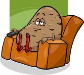 foto of couch potato  - Cartoon Humor Concept Illustration of Couch Potato Saying or Proverb - JPG