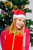picture of merry chrismas  - Girl in front of Christmas tree with gift - JPG