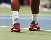 Grand Slam champion Rafael Nadal wears custom Nike tennis shoes during practice for US Open 2013