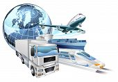 image of aeroplane  - Dynamic logistics city business concept with delivery transport vehicles and globe - JPG