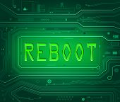 stock photo of reboot  - Abstract style illustration depicting printed circuit board components with a reboot concept - JPG