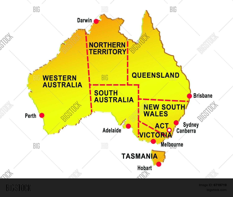 Map Australia Showing Eight States Image