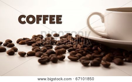 Cup Of Black Coffee With Roasted Coffe Beans With Title Coffee