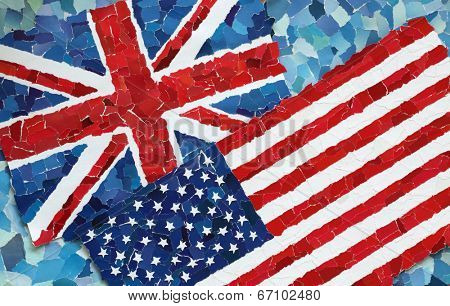 US and UK national flags made from many pieces of torn paper on sky blue background