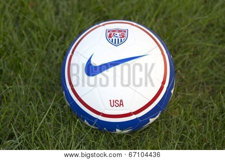 Team USA official soccer ball on grass in New York