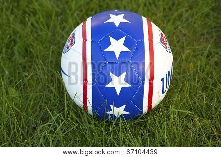 Team USA official soccer ball on grass in New York