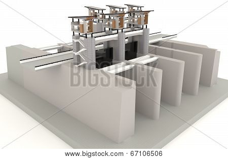 3D Water Gate Design Model