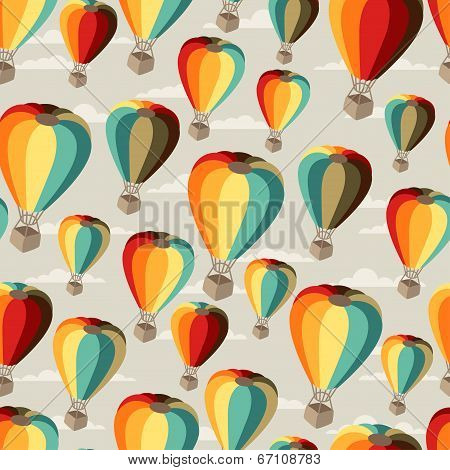 Seamless travel pattern of hot air balloons.
