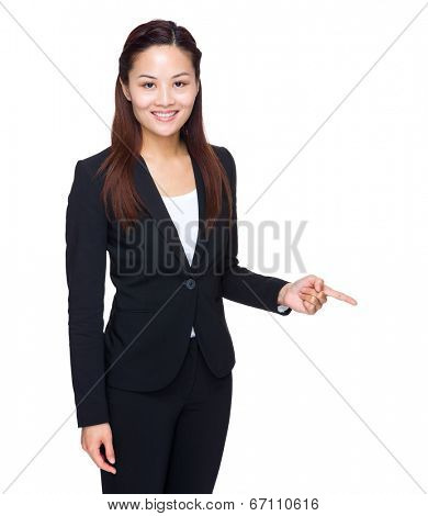 Business woman finger point down