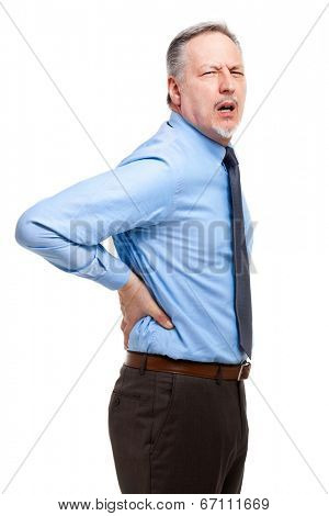 Man suffering for a backache. Isolated on white