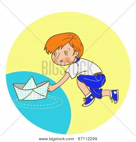 Illustration of a Boy Pushing a Paper Boat Down a River