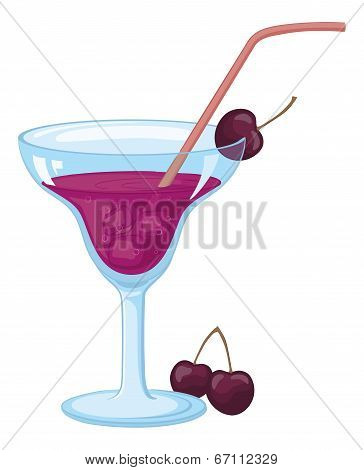 Glass with ice, drink and cherries
