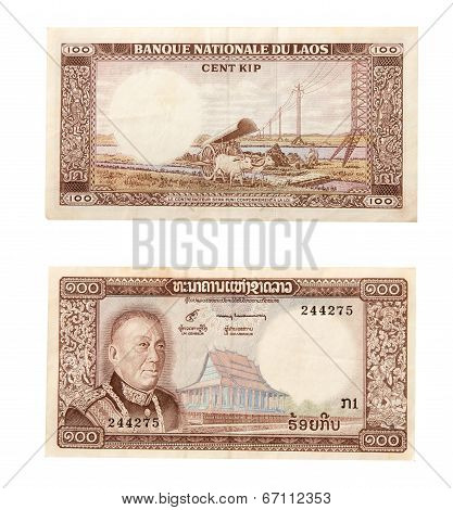 Laos - Circa 1983: Savang Vatthana (1907-1978) On 100 Kip 1983 Banknote From Laos. The Last King Of
