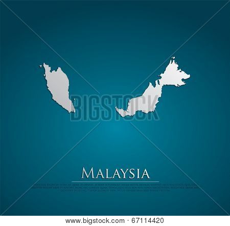 vector Malaysia Map card paper on blue background, high detailed