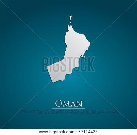 vector Oman Map card paper on blue background, high detailed