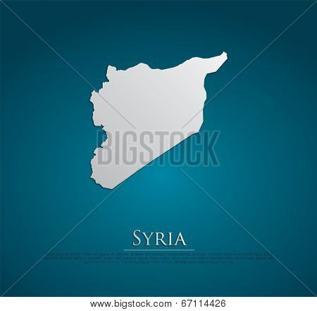 vector Syria Map card paper on blue background, high detailed
