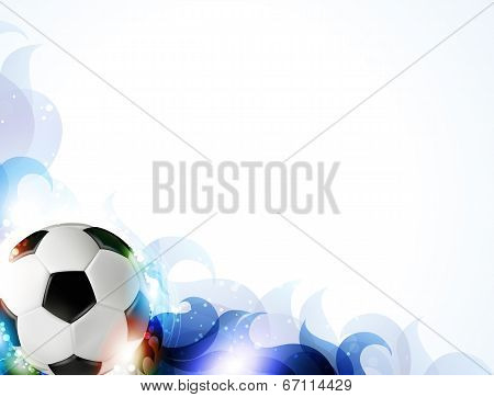Soccer Ball With Abstract Blue Petals