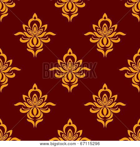 Maroon and orange seamless floral pattern