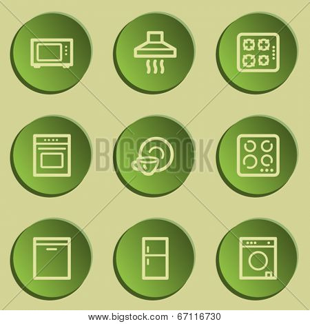 Home appliances web icons, green paper stickers set