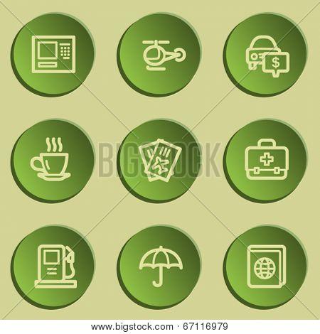 Travel  web icon set 4,  green paper stickers set