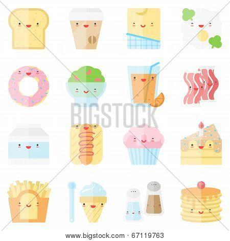 Cute Stylish Food Flat Icons