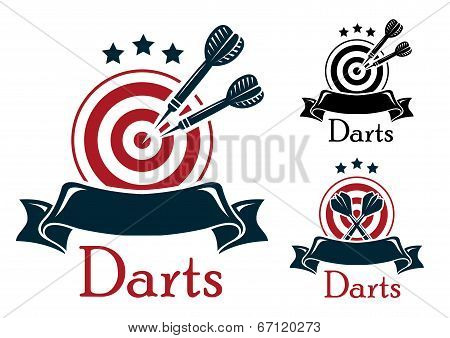 Darts sport emblem